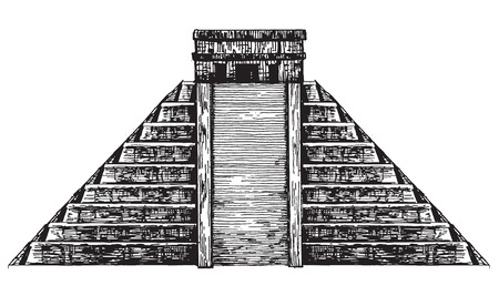kukulkan: sketch. Mexican pyramid on a white background. vector illustration Illustration