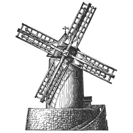 MOLINOS DE VIENTO: bosquejo. Antiguo molino de viento sobre un fondo blanco. ilustración vectorial Vectores