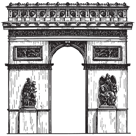 sketch. French architecture on a white background. vector illustration Vector