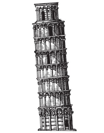 leaning tower of pisa: leaning tower on a white background. vector illustration Illustration