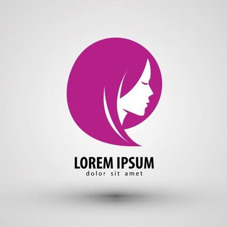 peluqueria: Cabeza de una chica joven en un fondo gris. ilustración vectorial