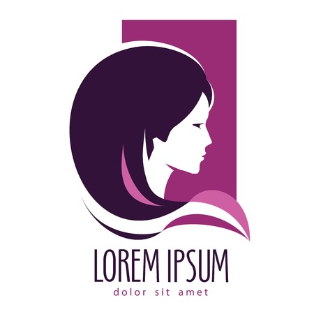 peluqueria: Cabeza de una chica joven en un fondo blanco. ilustración vectorial