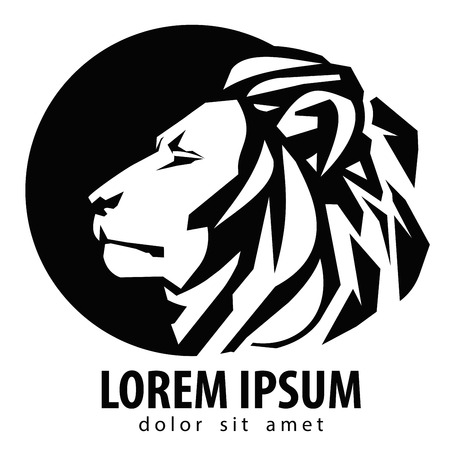 animaux zoo: t�te de lion sur un fond blanc. illustration vectorielle Illustration