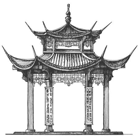 croquis. l'architecture du Japon sur un fond blanc. illustration vectorielle Vecteurs