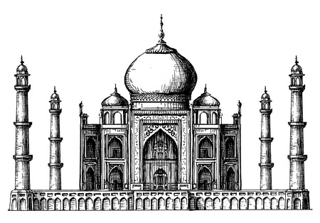 building sketch: architecture of India on a white background. vector illustration Illustration