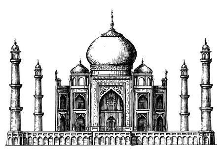 dibujos lineales: arquitectura de la India sobre un fondo blanco. ilustración vectorial
