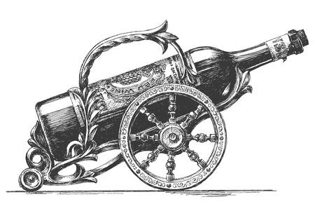 vino: bosquejo. botella de vino en un fondo blanco. ilustraci�n vectorial