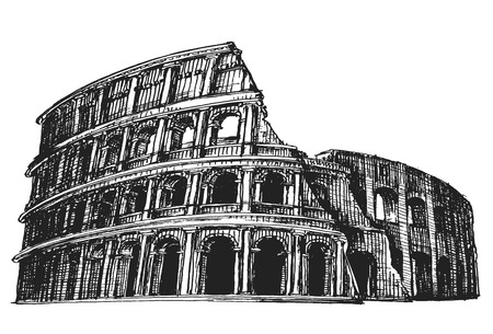 roman empire: the sketch. the Colosseum on a white background. vector illustration