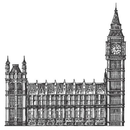 sketch. big Ben on a white background. vector illustration Illustration