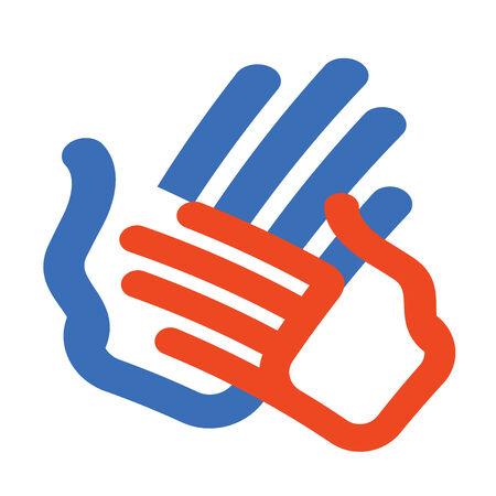 manos logo: Icono Color. Manos aisladas sobre fondo blanco