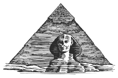 khafre: sketch. the Egyptian Sphinx and the pyramid on a white background
