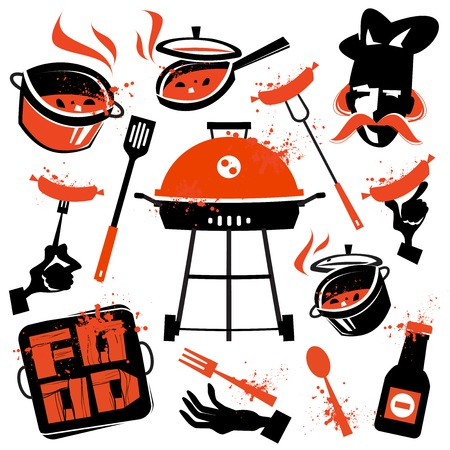 mangal: Collection of illustrations. food, BBQ on white background Stock Photo