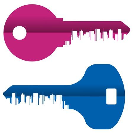 headquarter: set of icons. colored keys on white background