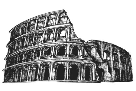 colloseum: sketch. the Coliseum on a white background. Italy