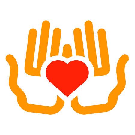 medicine logo: heart in hands on a white background. color symbol