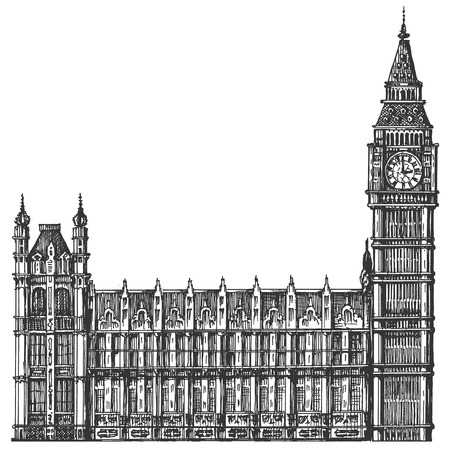 houses of parliament london: big Ben on a white background. London, England