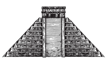 pre columbian: illustration. Mexican pyramid on a white background. Stock Photo