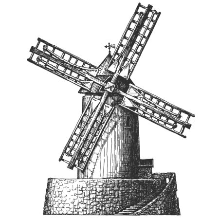 watermill: old windmill on a white background