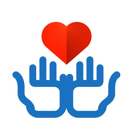 Color icon. heart and hands on white background photo