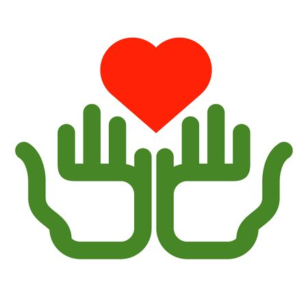 nonprofit: colored hands and hearts on a white background. illustration