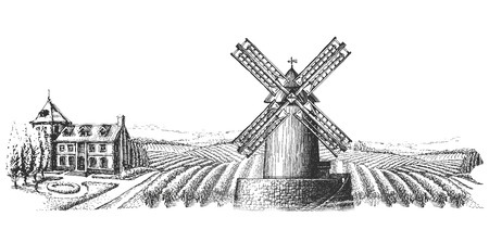 wind wheel: Windy mill in the village on a white background. sketch