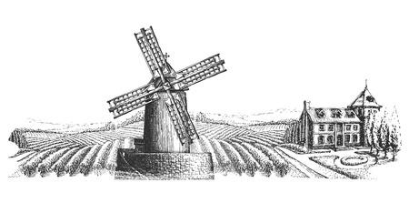 de molen op de achtergrond van het dorp op een witte achtergrond