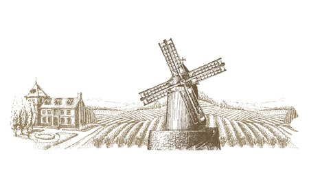 wind mills: old mill in the village. vector illustration Illustration