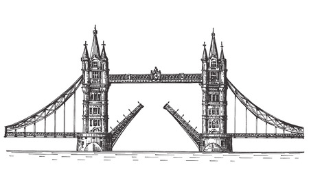 houses of parliament london: sketch. bridge in England on a white background. vector illustration