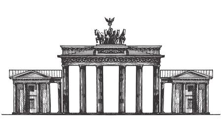 den: the sketch. the architecture of Germany, on a white background. vector illustration