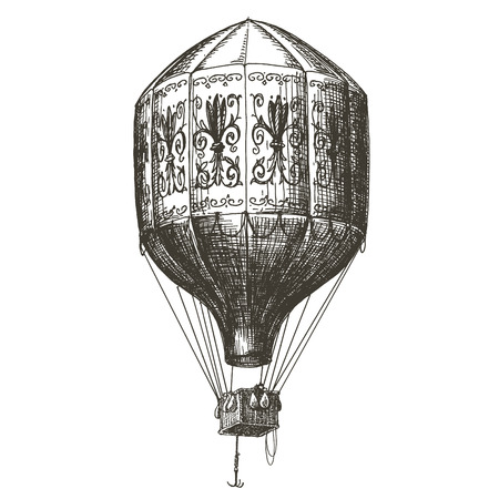 hot air: sketch. Vintage balloon on white background. vector illustration Illustration