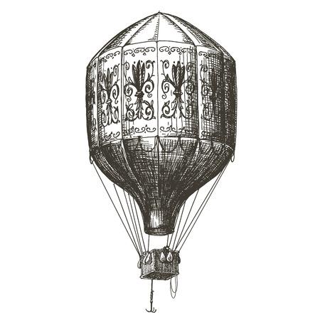 luftschiff: Skizze. Weinlese-Ballon auf weißem Hintergrund. Vektor-Illustration Illustration