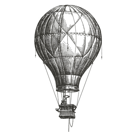 hot air balloon: the sketch. air transport on a white background. vector illustration Illustration