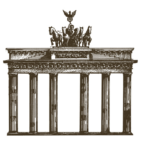 chariot: sketch. architecture of Germany on a white background. vector illustration