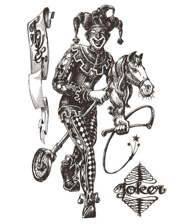 joker card: sketch. Joker on a white background. vector illustration Illustration