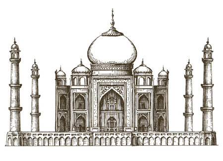 taj: sketch. architecture of India on a white background. vector illustration