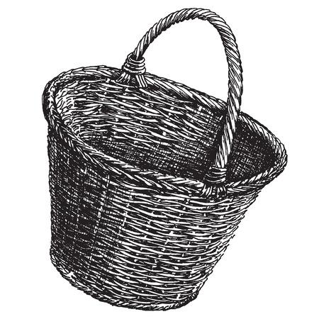 sketch. Wicker basket on a white background. vector illustration Vettoriali