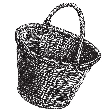sketch. Wicker basket on a white background. vector illustration Иллюстрация
