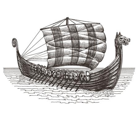 sketch. battle ship on a white background. vector illustration