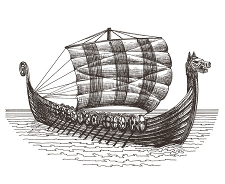 drakkar: sketch. battle ship on a white background. vector illustration
