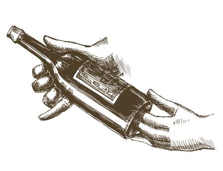 botella de vino en la mano sobre un fondo blanco. ilustración vectorial Ilustración de vector