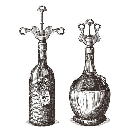 uncork: sketch. bottle of wine on a white background. vector illustration