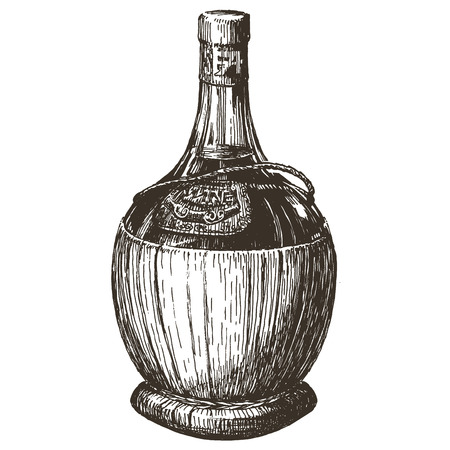 viticulture: sketch. bottle of wine on a white background. vector illustration
