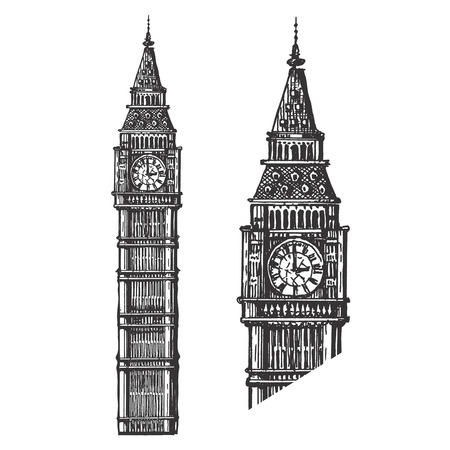 big ben: sketch. Tower on a white background. vector illustration