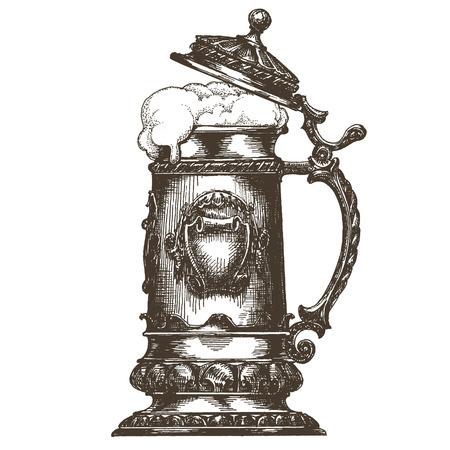 german beer: sketch. mug of beer on a white background. vector illustration Illustration