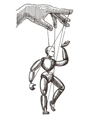 marioneta de madera: bosquejo. marioneta en un fondo blanco. ilustración vectorial