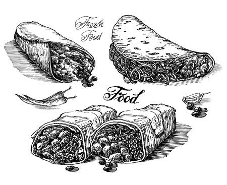 sketch. food on white background. vector illustration
