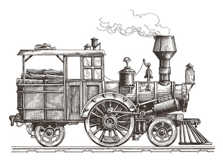 social history: sketch. the locomotive on a white background. vector illustration Illustration