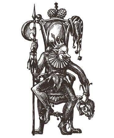 revenge: sketch. Joker on a white background. vector illustration Illustration
