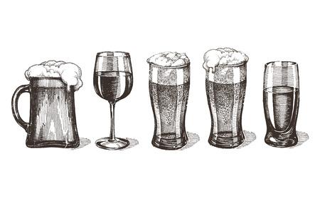 schets. dranken op een witte achtergrond. vector illustratie Stock Illustratie