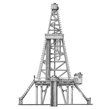 gusher: oil derrick on a white background. the sketch. vector illustration